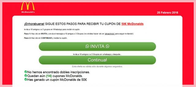 estafa en whatsapp macdonald