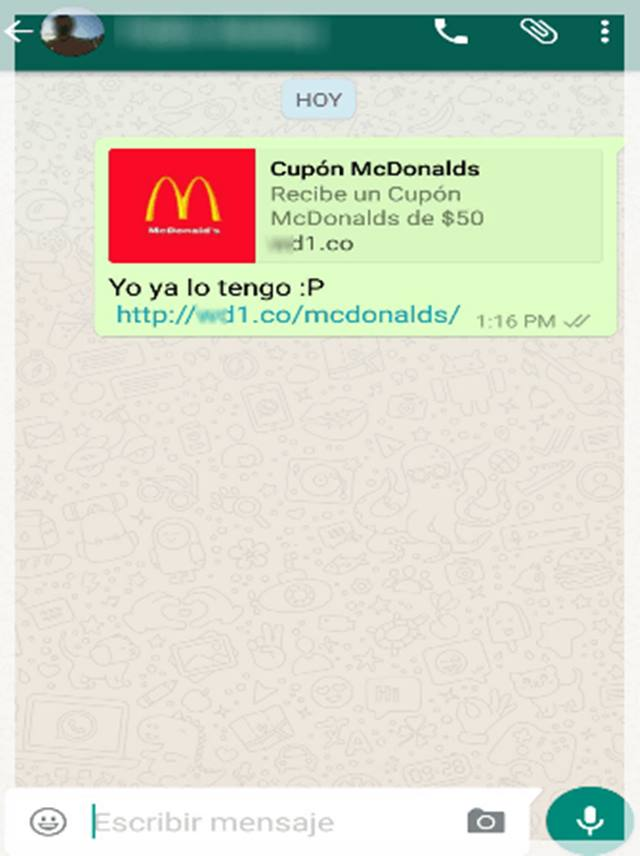 estafa whatsapp facebook macdonald
