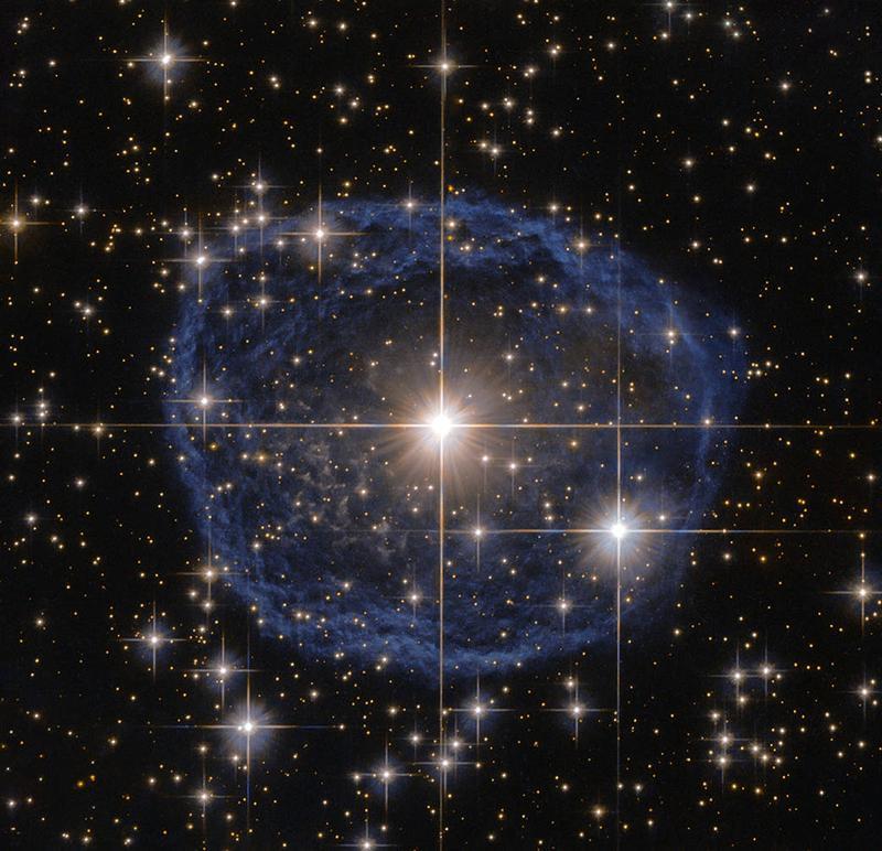 Impresionante y extraña burbuja azul en el espacio
