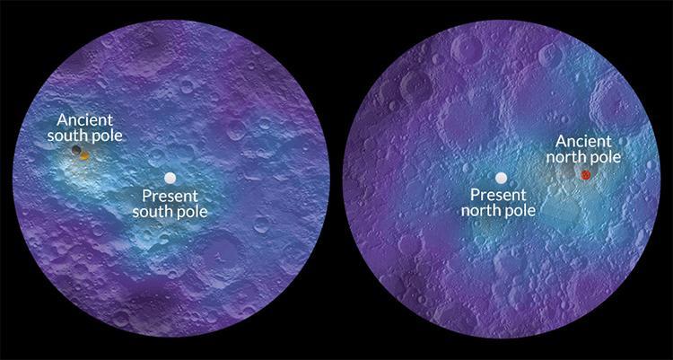 Polos de la luna no siempre han estado en el mismo lugar.