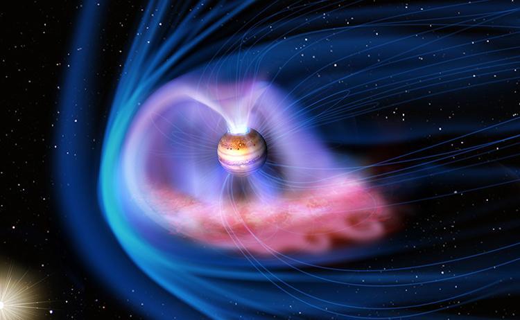 Tormentas solares provocan auroras intensas en Jupiter - Arte conceptual