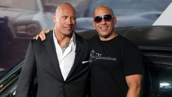 Vin Diesel y Dwayne Johnson en Rápidos y furiosos 9