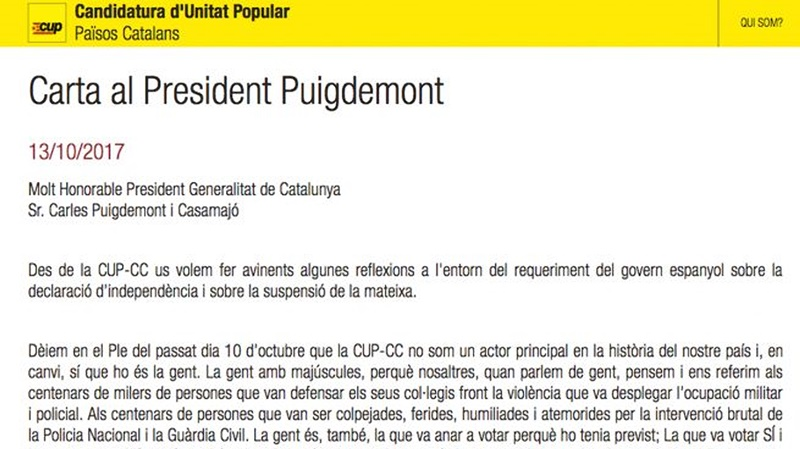 Presiones de la CUP a Puigdemont por carta para proclamar la 'República Catalana'