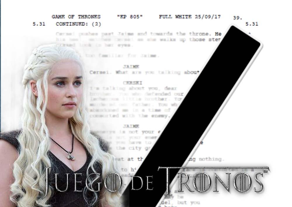 Filtran guiones de la octava y última temporada de Game of Thrones