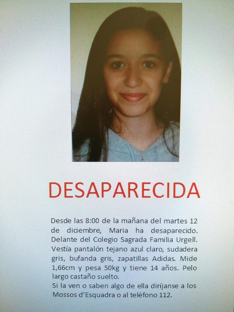 Mossos de'Esquadra solicitan colaboración para encontrar a una menor de 14 años desaparecida en Barcelona.
