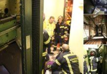 Miembros de una familia heridas al descolgarse el ascensor de un edificio